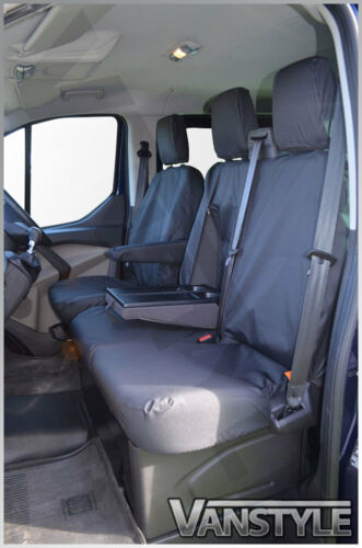FORD TRANSIT CUSTOM 12 BLACK TAILORED WATERPROOF FRONT SEAT COVERS 1+2 H//DUTY