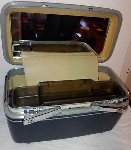 Vintage Samsonite Train Case Luggage Case Navy Blue Makeup Bag Travel Case