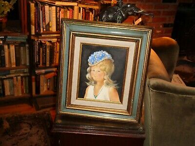 Responsible Fred Jaeger In Young Girl In Flowered Hat Fragrant Acrylic/artist Bd Flavor Listed Artist:1977