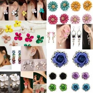 Elegant-Women-039-s-Crystal-Rhinestone-Flower-Ear-Studs-Dangle-Drop-Earrings-Jewelry