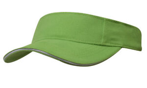 dcdc9e65 Image is loading CUSTOM-Personalised-Embroidery-BRIGHT-GREEN-Sun-Sports- Visor-