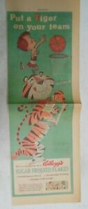 Kellogg's Frosted Flakes Cereal Ad: Tony The Tiger ! 1957 Size: 7.5  x 22 inches