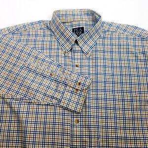 Jos-A-Bank-Large-Mens-Shirt-Plaid-Travelers-Collection-Cotton-Blue-Tan-White