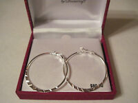 Danecraft Silver 100 Diamond-cut Hoop Pierced Earrings, Gift Box, Free S&h, $80