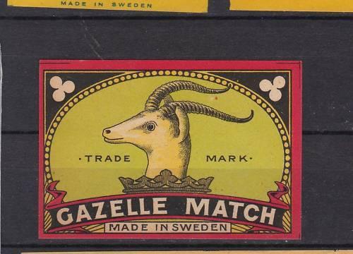 Ancienne étiquette allumettes Suède Gazelle