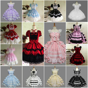 Details about Women\'s Sweet Lolita Gothic Ruffle Dress Bowknot Ball Gown  Costumes Plus Size