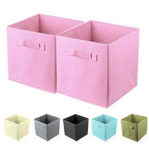 2 x foldable storage collapsible folding box home clothes organizer fabric cube ebay. Black Bedroom Furniture Sets. Home Design Ideas