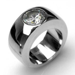 Heavy Stainless Steel Ring With Rhinestone Brilliant Bling Ebay