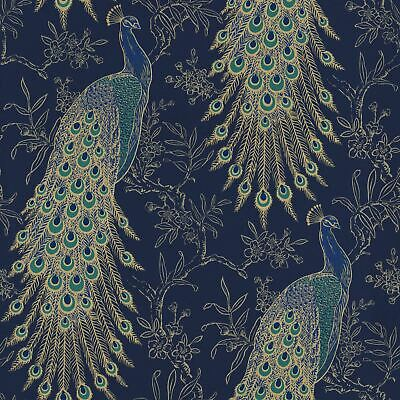Peacock Wallpaper Navy Blue Gold Metallic Feather Floral Vintage Birds Rasch
