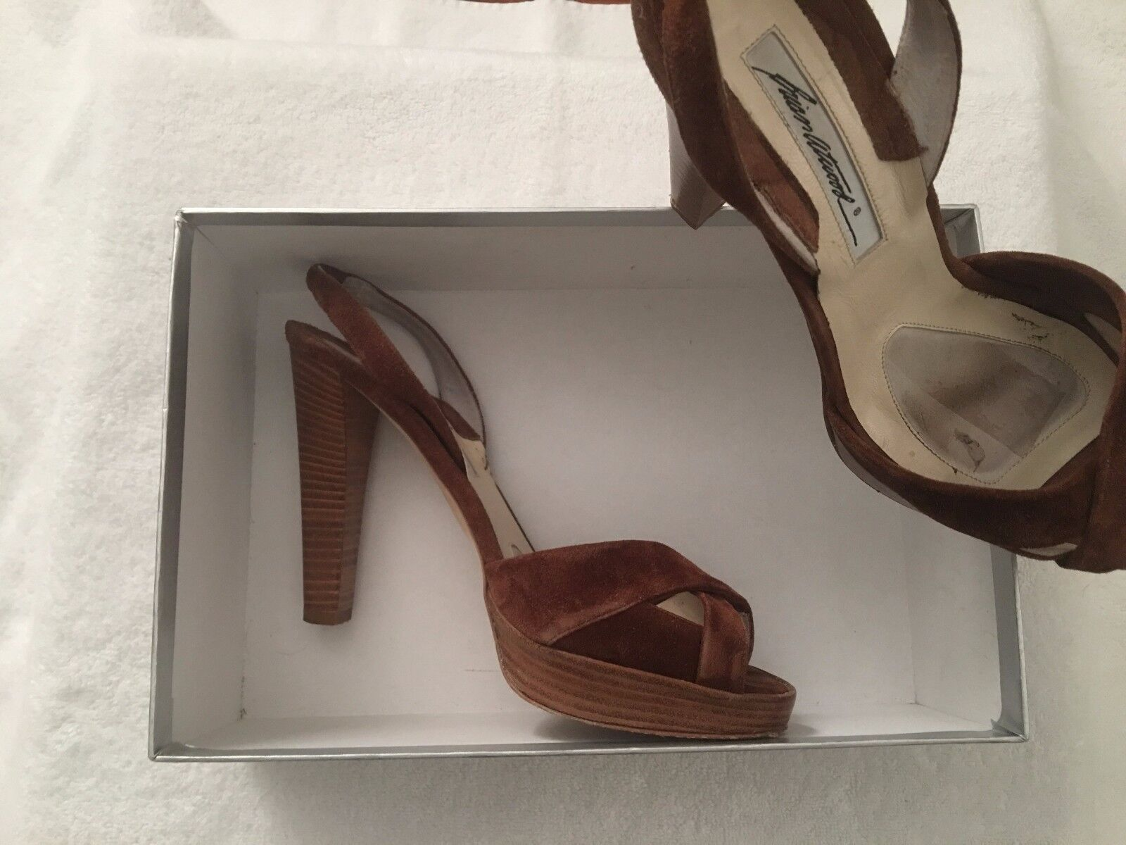 Brian Atwood Heels- Dolly Sandal Calf Suede Heels, size 39 - worn 2 times