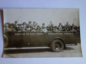 alte-Ansichtskarte-um-1920-Auto-Wien-Osterreich-Bus-Rundfahrten