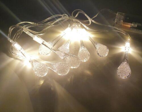 8 DEL glaçons String Lights-à piles blanc chaud.