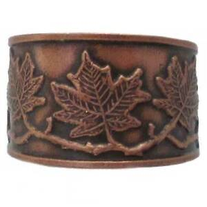 Solid-Copper-Ring-Maple-Leaf-Handmade-Jewelry-Gift-Adjustable-Sz-Band-Arthritis
