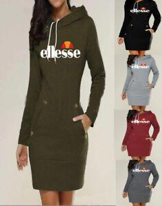 100% authentic 4916d 478b2 Details zu Ellesse Damen Langearm Pullover Kleider mit Kapuze lange Kleid  Hoodie Sweatshirt