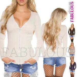 Sexy-Women-039-s-Ladies-Front-Zip-Cardigan-Sweater-Jacket-Jumper-Size-6-8-10-XS-S-M