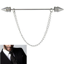 Mens Silver Spear Tip Collar Pin -Removable Chain- Stainless Steel 6CM Tie Bar