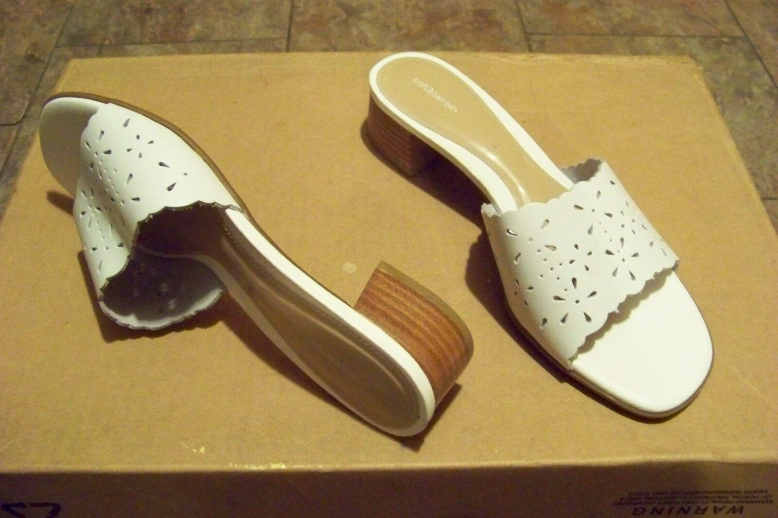 womens croft & barrow carrie white cut out 9 strap heels shoes size 9 out 1/2 1006bb