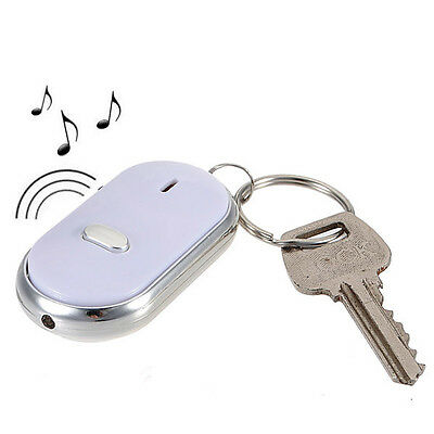 LED Keys Finder Locator Find Lost Chain Keychain Whistle Sound Control Keyring