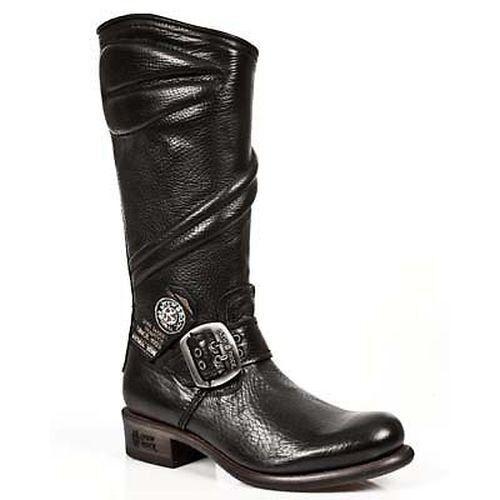 NEW Rock Boots Donna Biker Stivali Stivali da Donna Boots Nere Vera Pelle 8bb333