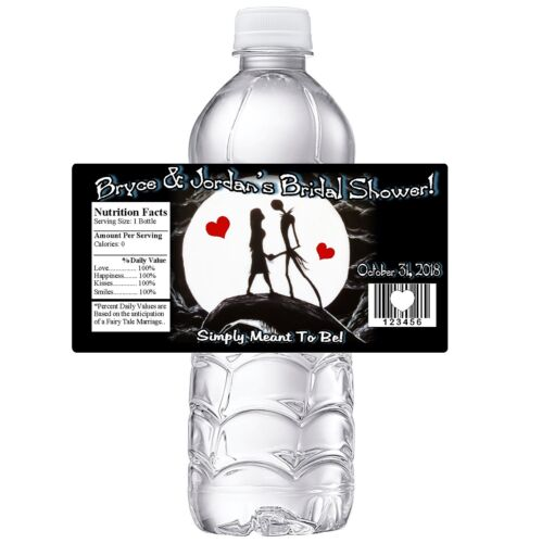NIGHTMARE BEFORE CHRISTMAS BRIDAL SHOWER PARTY FAVORS GLOSSY WATER BOTTLE LABELS