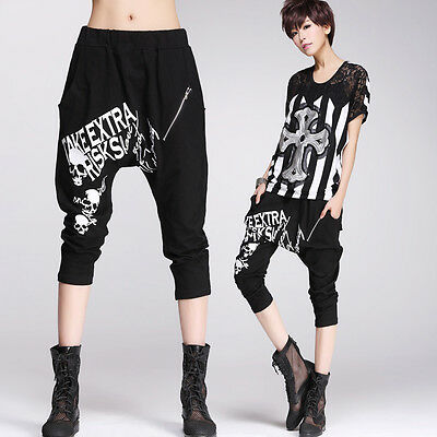 Women Loose GOTH Low Drop Crotch Cropped Pants Visual Kei PUNK Trousers HIP HOP