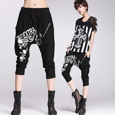 Women GOTH Cropped Pants Visual Kei PUNK Skull Print 3/4 Length Trousers HIP HOP
