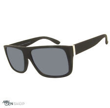 Matt Black SQUARE Large Flat Top Designer Style Sunglasses Retro 70's Celebrity