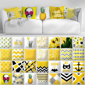 UK-SIZE-18-034-45cm-20-034-50cm-Mustard-Yellow-Patterned-Polyester-Cushion-Cover