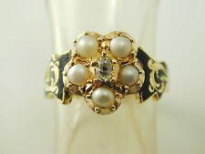 Anello di diamanti perla lutto in memoria di vittoriano Oro 18 CARATI datata 1844 4.8g