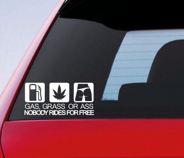Gas grass or ass funny car window bumper jdm drift dub vinyl decal sticker