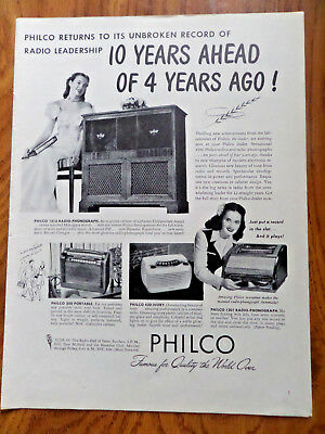 "1946? Vintage 4-fold 20 x 14/"" Philco Radio /& Phonograph Advertising Poster"
