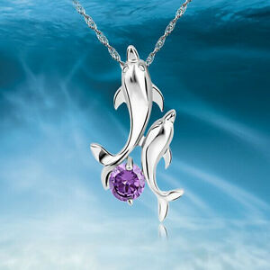 Chic-Women-039-s-Double-Dolphin-Rhinestone-Chain-Necklace-Pendant-Jewelry-Gift-New