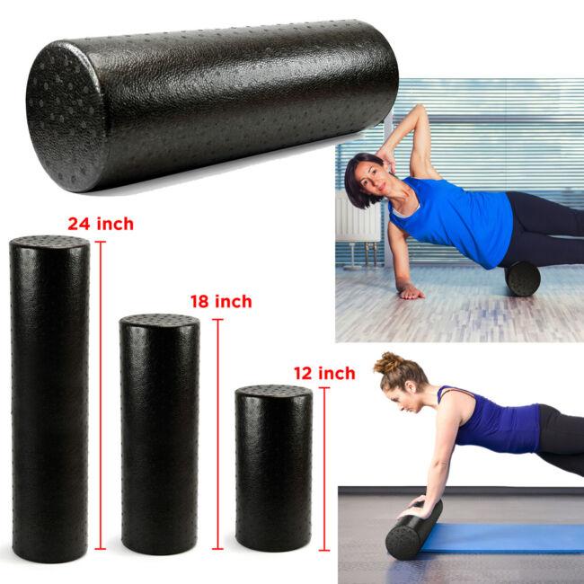 Black Extra Firm High Density Foam Roller Muscle Back Pain Trigger Yoga Massage