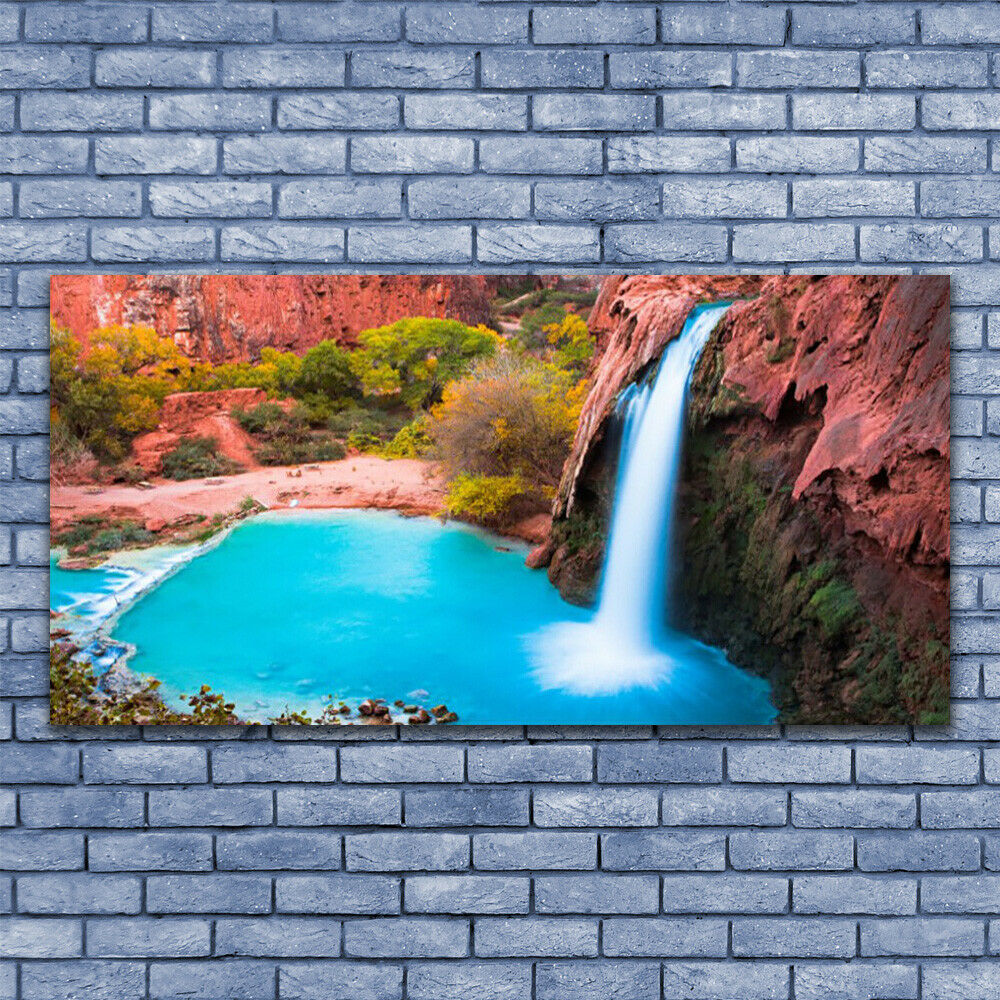 Glass print Wall art 140x70 Image Picture Waterfall Mountains Nature