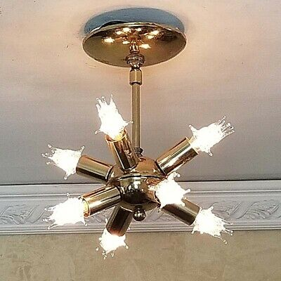 638b 1 Of 2 Vintage Sputnik Atomic Mid Century Modern Ceiling Light Chandelier Ebay