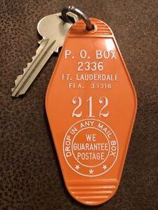 Vintage Orange Hotel Room Key and Fob - Ft Lauderdale Florida