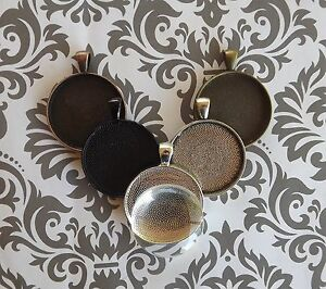 25mm/1 inch pendant trays with glass Silver Bronze Copper Black Antique Silver