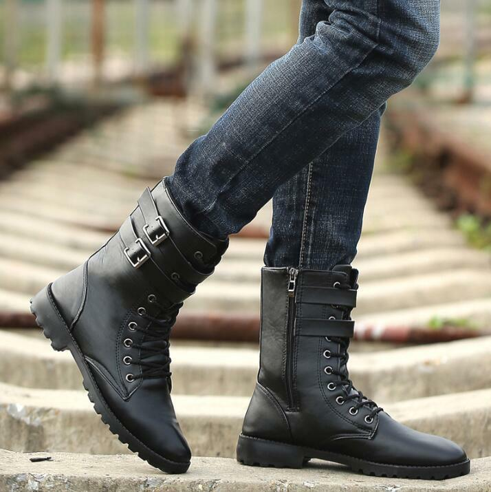 Men Knight British Motorcycle Military Lace Up Mid Calf Boots Pointed Toe shoes