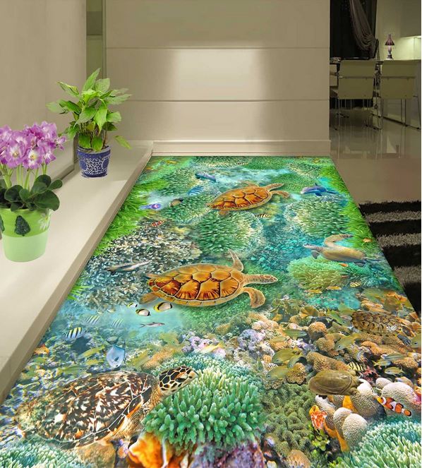 3D Grün Coral Turtle 81 Floor WallPaper Murals Wall Print Decal AJ WALLPAPER US