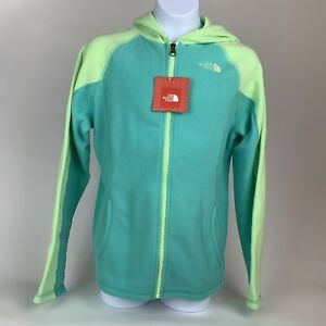 1685e7454 GIRLS: The North Face Fleece Full-Zip Hoodie Jacket, Teal - Size ...