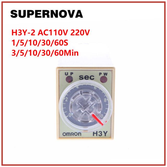 H3Y-2 AC110V 220V Delay Timer Time Relay 0 - 60 Seconds 0-60Mins