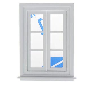 1-12-Dollhouse-Miniature-White-Wooden-Window-Furniture-Decoration-Accessor-QA