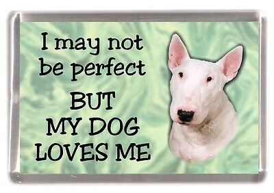 """Bull Terrier (White) Fridge Magnet No 2. """"I may not be perfect...."""" by Starprint"""