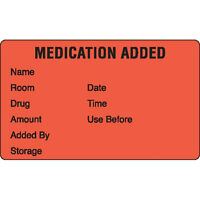 Medication Added Pharmacy Label Black On Red 1000 Roll on Sale