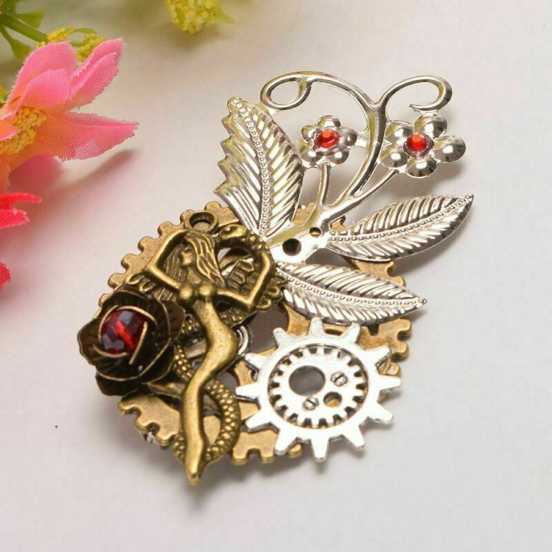 Victorian Gothic Insect Mermaid Brooch Pin Steampunk Gear Spider Breast Pin