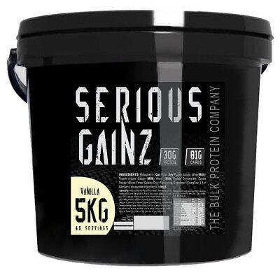 Serious Gainz Weight Gainer 5kg Muscle Mass Gain Protein Powder Shake - Vanilla