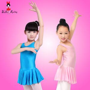 UK-Stock-Sale-Kids-Girls-Dress-Leotard-Lycra-Ballet-Dress-Skirt-Dance-Dress-123