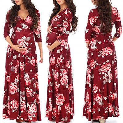 Pregnant Womens Floral Wrap Nursing Maxi Dress V Neck Maternity Long Gown Party