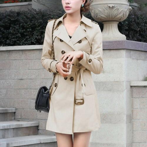 Womens Slim Windbreaker Double Breasted Long Trench Coat Jacket Overcoat Outwear
