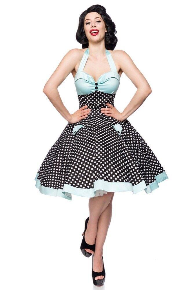 Vestito cotone vintage Femminile schwarz bianco Blau uy 50066 abbigliamento pin up